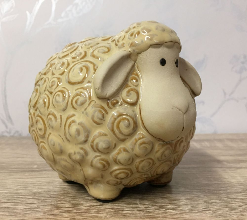Curly Sheep Ceramic Money Bank Pot